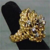 14 K Yellow Gold Vintage Diamond Ring.