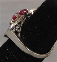 Vintage Platinum Synthetic Ruby and Diamond Ring.