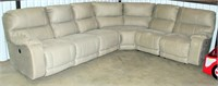 4-Pc Pleather/Suede Couch Sectional, w/elec control for recliners (view 1)
