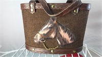 Vintage Child Size Purse With Horse Detail 9x7x4""