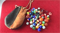 Vintage Leather Bag With Glass Marbles