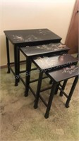 Set of 4 Vintage Wooden Nesting Tables With