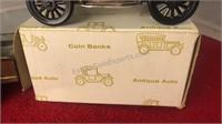 2 Vintage Metal Coin Banks Classic Autos 1929
