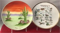 "2 Vintage Arizona 8"" Diameter Ceramic Collectors"