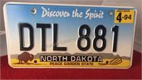 "1994 North Dakota Auto License Plate 12x6"""