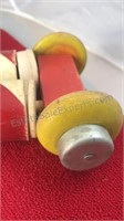 Vintage Wood and Cardboard Baby Walker Toy Wheels