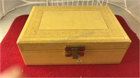 Vintage Wood Jewelry Box Has Articulated Lid With
