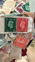 Box of Vintage Cancelled Unsorted Stamps 6x5x1""
