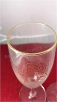 4 Vintage Gold Rimmed Champaign Flutes With Gold
