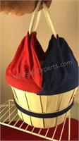 "Vintage Woven Bucket Purse 7"" Tall 9"" Diameter"