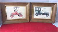 "2 Matching Antique Car Prints 8x10"""