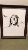 Framed 1971 Thomas Yelcich  Print of Native