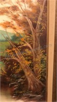 Framed and Signed Landscape  Painting On Canvas