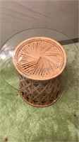 Vintage Wicker Table Base With Round Glass Top 20