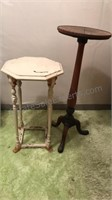 2 Vintage Wood Plant Stand Tables Octagon Top is