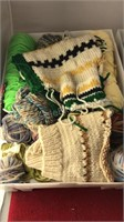 2 Plastic Totes Filled With Yarn and Knit Items