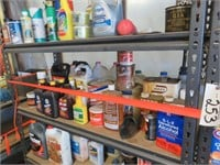 (2) Metal Shelves & Contents Including: Cleaners,