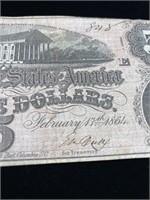 The confederate states of America 5 dollar bill