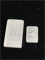 2 separate pieces of silver bar (1g and 10gs)