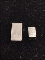2 Separate pieces of silver bars (1g and 1/4oz)