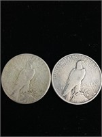 Two 1922 United States peace dollar coins