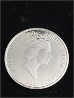 1985 British Virgin Islands silver 20 dollar coin