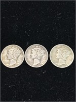 3 United States Mercury dimes (1941,1943,1944)