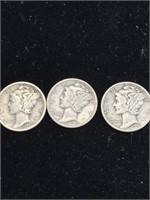 3 United States Mercury dimes (1936,1942,1944)