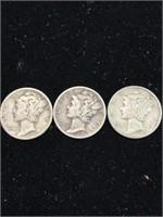 3 United States Mercury dimes (1942,1944,1945)