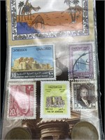 Stamps and currency from Jordan