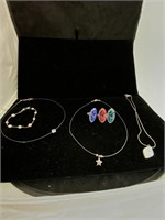 Gem necklaces, bracelets and rings lot
