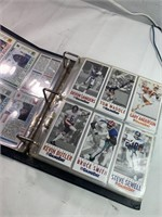 Binder of football cards