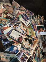 Crate full of sports cards