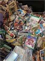 Crate of sports cards