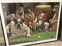2 Framed Prints of Dogs playing Cards