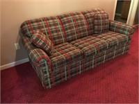 Plaid Upholstered Sofa