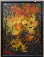 "Arrigo Ghedini, Oil on Board ""Forest"""