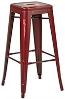 BISTROW ANTIQUE RED METAL BARSTOOL