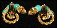 18 K Gold and Turquoise Earrings.