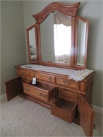 Wood Mirrored Dresser with Crocheted Doilies