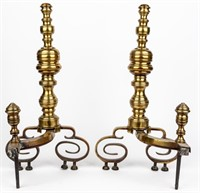 Antique Set of Large Brass Andirons