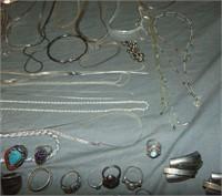 Estate Jewelry Lot. Silver & Costume.