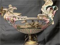 Figural Porcelain & Silver Plated Centerpiece