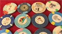 14 Vintage Las Vegas and others 1$ Gaming Tokens