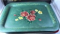 Collection of Vintage Metal Serving Trays Largest