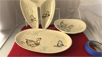 3 Pcs Red Wing Pottery Bob White Serving Dishes