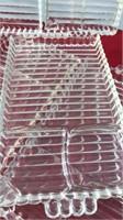 "8 Vintage Glass Snack Trays 6x10"" Trays Match"