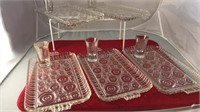 """5 Vintage Glass Snack Trays 6x10"""" With 5 Shot"""