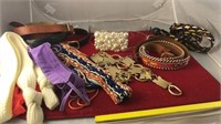 Collection of Vintage Fashion Belts and Hair Ties