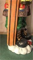 "Resin Cast Skiing Santa Figure 22"" Tall"